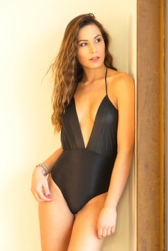 Black Drawstring One Piece Swimsuit