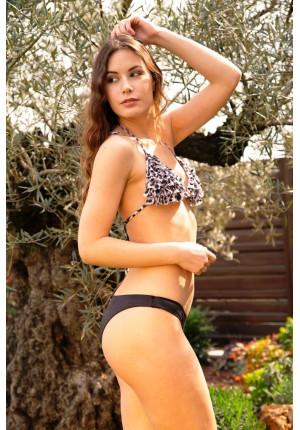Bikini Triangolo con Frappe Maculato e Slip Chiuso Brinato