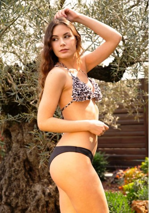 Triangle Bikini with Frappe Maculato and Broccoli Closed Briefs