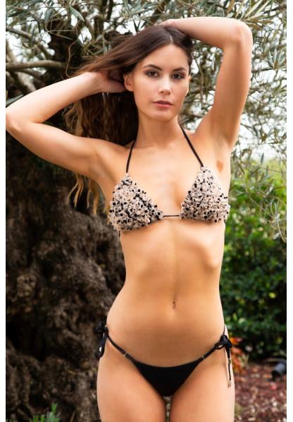Bikini Triangolo con Tulle e Slip Laccetti