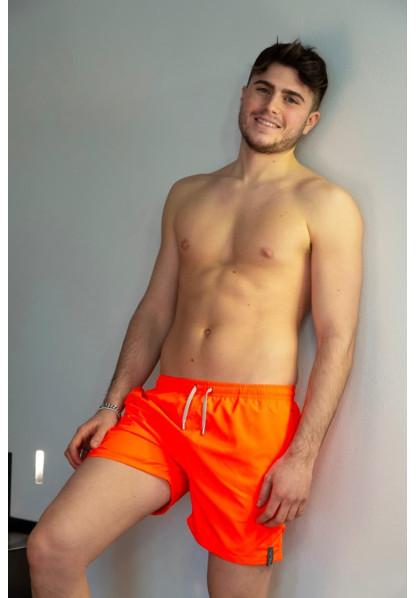 Fluo Orange Short with Military Green Details Shop Online