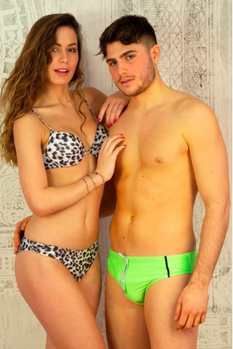 Fluo Green Slip with Buttonholes and Blue Night Inserts Shop