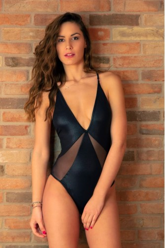 One-Piece Swimsuit with tulle inserts on the sides