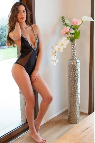 One-piece swimsuit with polka dot tulle insert Shop Online